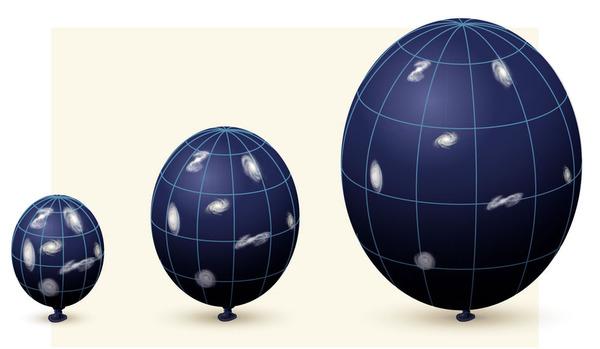 Un globo representa la expansión del universo